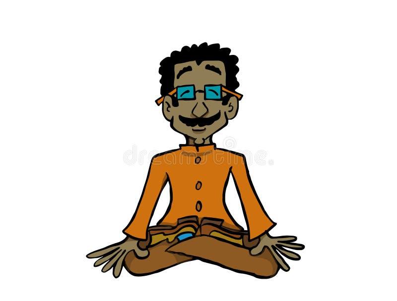 Tecken Raj som sitter i övande yoga eller meditation för lotusblommaposition royaltyfri illustrationer