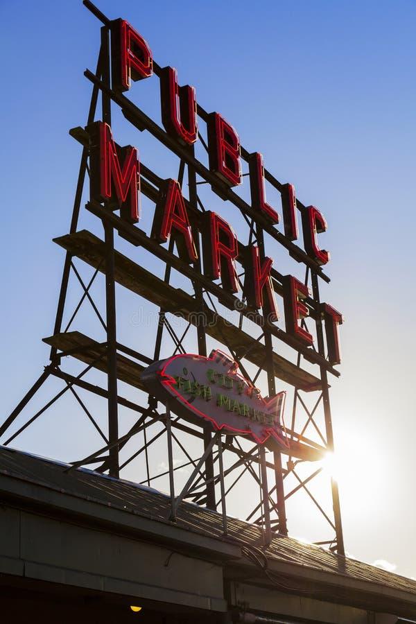 Tecken Seattle för offentlig marknad royaltyfri bild