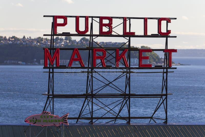 Tecken Seattle för offentlig marknad fotografering för bildbyråer