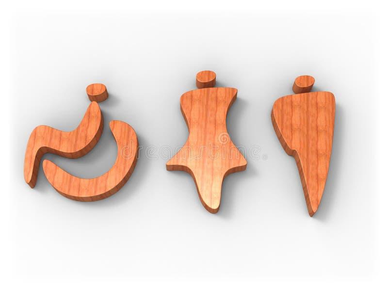 tecken slet trä royaltyfri illustrationer