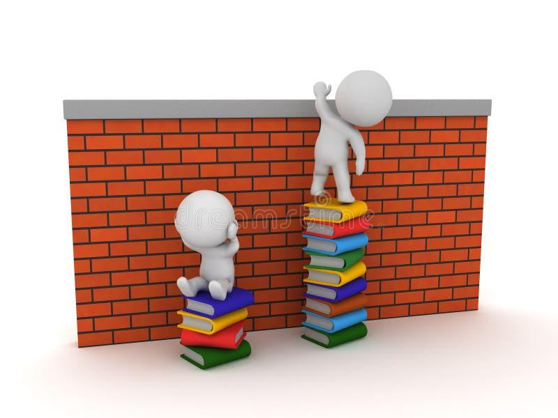 tecken som 3D överst sitter av böcker som klättrar över väggen medan royaltyfri illustrationer