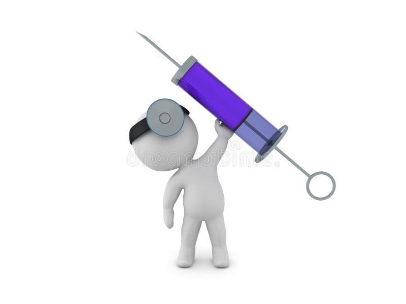 tecken som 3D kläs som doktorn som lyfter upp en jätte- injektionsspruta royaltyfri illustrationer