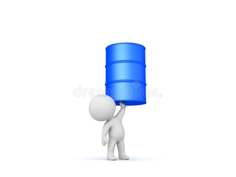 tecken som 3D lyfter den blåa metalliska trumman stock illustrationer