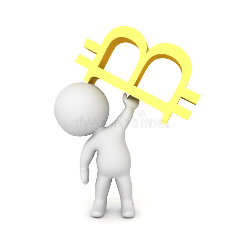 tecken som 3D lyfter upp ett bitcionsymbol royaltyfri illustrationer