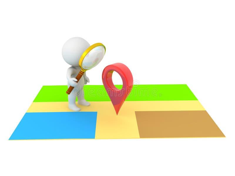 tecken som 3D söker för läge på översikt stock illustrationer