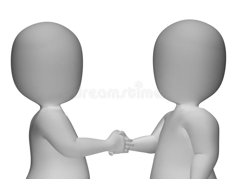 tecken som 3d skakar handshowatt hälsa eller avtal stock illustrationer