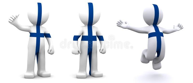 tecken som 3d textureras med flaggan av Finland stock illustrationer