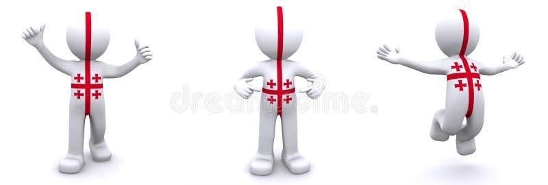 tecken som 3d textureras med flaggan av Georgia royaltyfri illustrationer