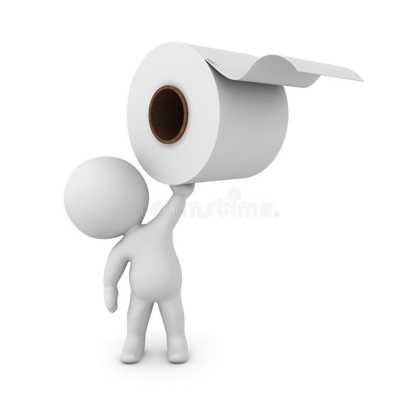 tecken som 3D upp rymmer en rulle för toalettpapper stock illustrationer