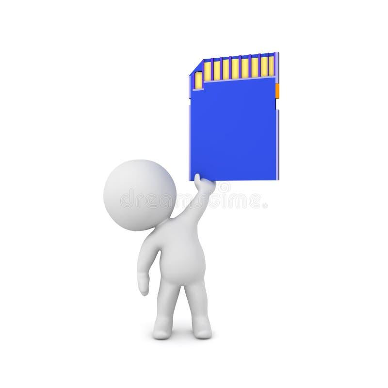 tecken som 3D upp rymmer ett blått SD-kort royaltyfri illustrationer