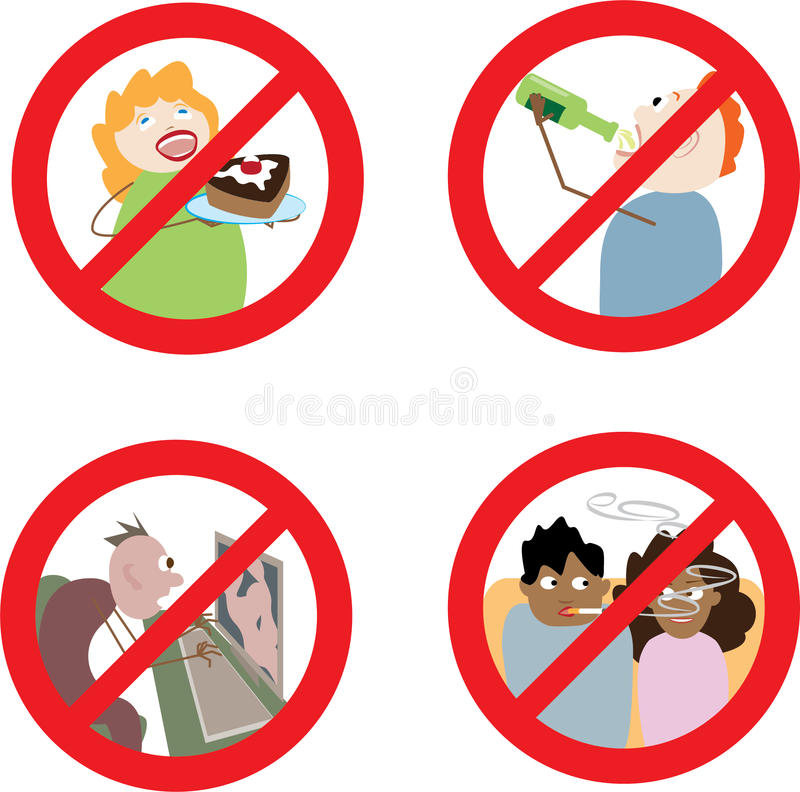Tecken som förbjuder felaktigt uppförande stock illustrationer