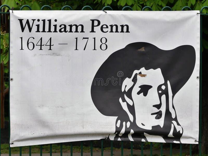 Tecken som firar minnet av livet av William Penn, den tidiga kväkaren och grundaren av den engelska norden - amerikansk koloni la royaltyfria foton