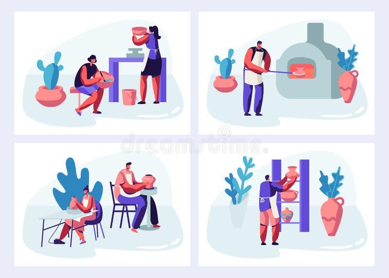 Tecken som gör och dekorerar krukor uppsättning, lergods, lerkärl och annan keramik på krukmakeriseminariet gruppera folk vektor illustrationer