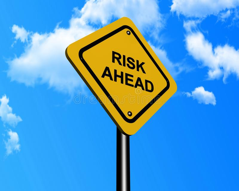Tecken som indikerar risk framåt stock illustrationer