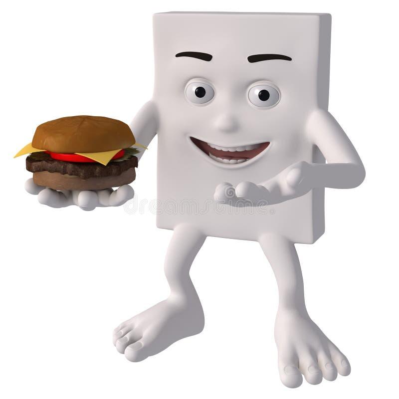 Tecken som rymmer en hamburgare vektor illustrationer
