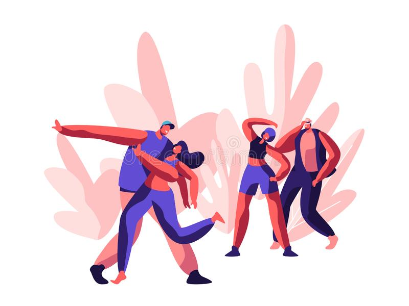 Tecken som visar det roliga diskot Glade Time för dansa och fristilparti Ungdomgrabb- och flickaaktivitet åtgärdar tillsammans i  stock illustrationer