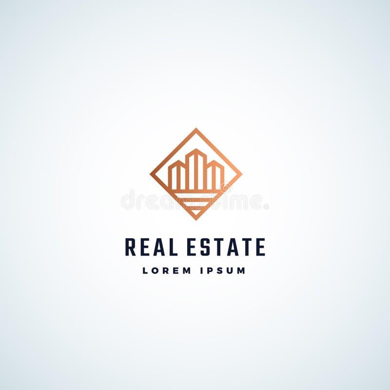 Tecken, symbol eller Logo Template för Real Estate abstrakt begreppvektor Skyskrapabyggnader i en fyrkantig ram med modern typogr stock illustrationer
