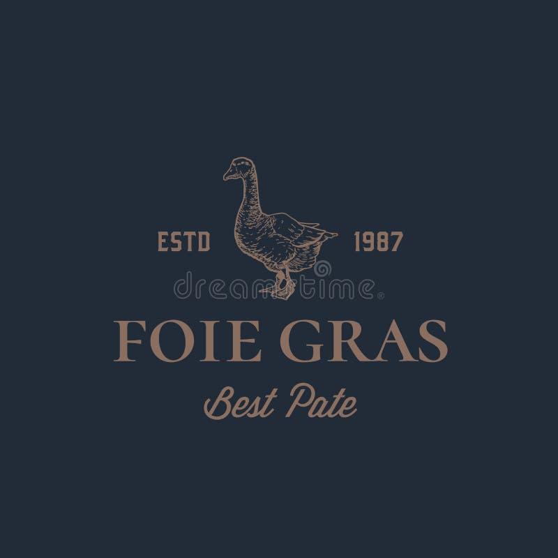 Tecken, symbol eller Logo Template för vektor för abstrakt begrepp för Foie Gras gåsPate Hand dragen gås Sillhouette med Retro ty vektor illustrationer