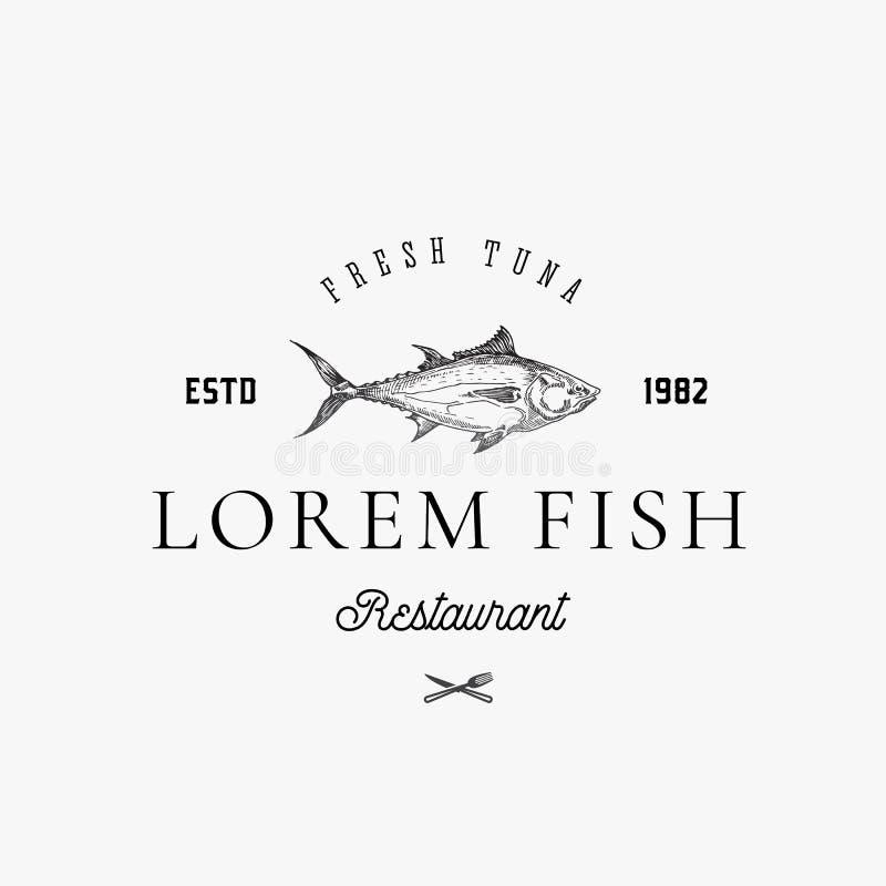 Tecken, symbol eller Logo Template för vektor för fisk- och skaldjurrestaurangabstrakt begrepp Hand drog Tuna Fish med flott Retr stock illustrationer