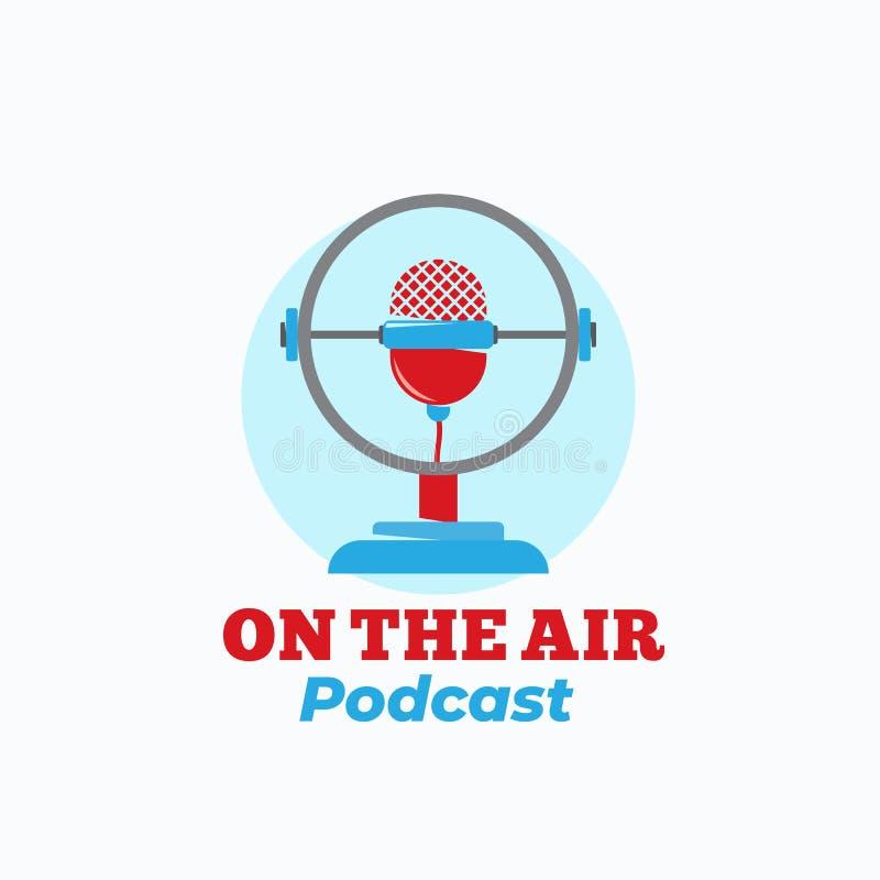 Tecken, symbol eller Logo Template för vektor för Podcastradioprogramabstrakt begrepp Tappningstilmikrofon med Retro typografi stock illustrationer