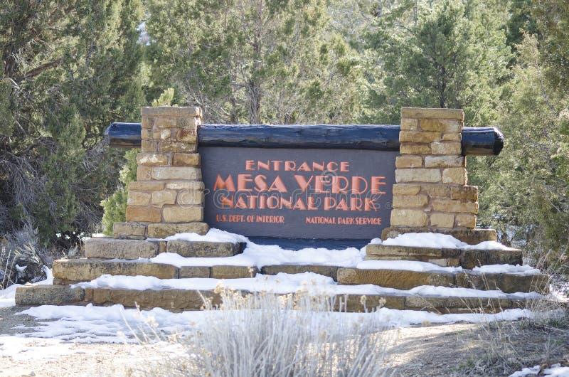 Tecken till Mesa Verde National Park royaltyfria bilder