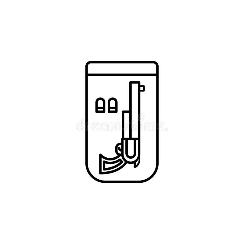 Tecken vapensymbol Beståndsdel av lag- och rättvisasymbolen Tunn linje symbol för websitedesignen och utveckling, app-utveckling  stock illustrationer