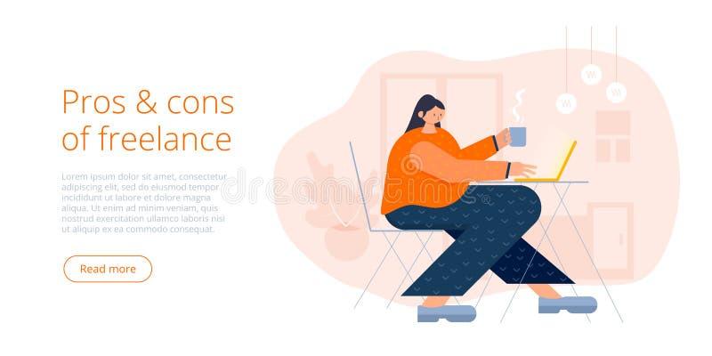 Teckenarbete för ung kvinna med bärbara datorn Frilans- eller avlägset jobbbegrepp i plan modern vektorillustrationdesign freelan vektor illustrationer