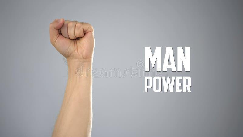 Teckenarbetskraft med den manlig vård- handen, sportnäring, uttålighet och män royaltyfri bild