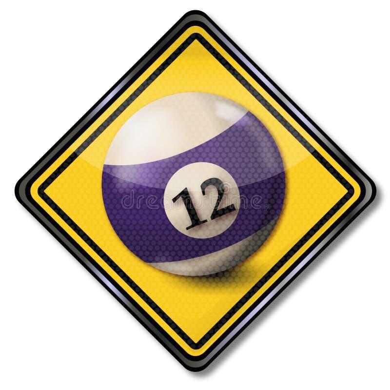 Teckenbilliardboll nummer 12 stock illustrationer