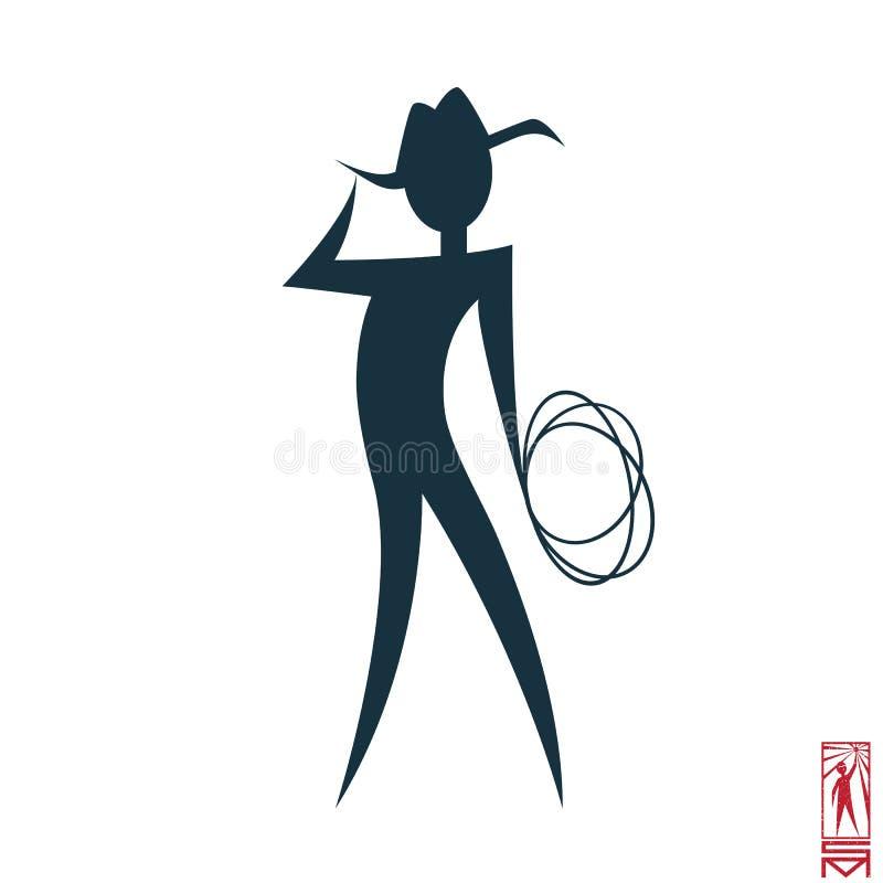 Teckencowboy med lasson stock illustrationer