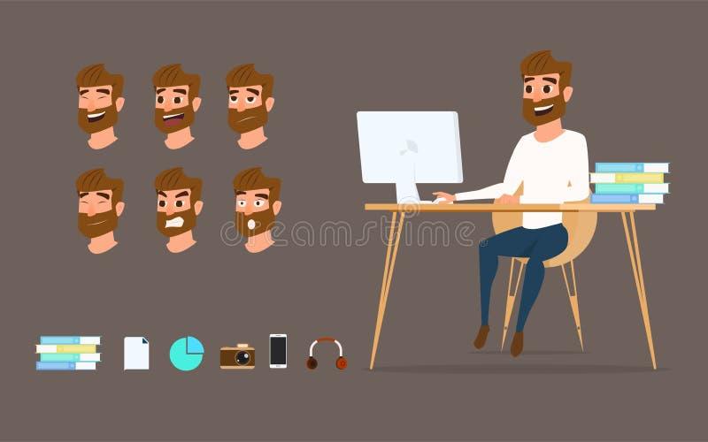 Teckendesign Affärsman som arbetar på den skrivbords- datoren med olika sinnesrörelser på framsida stock illustrationer