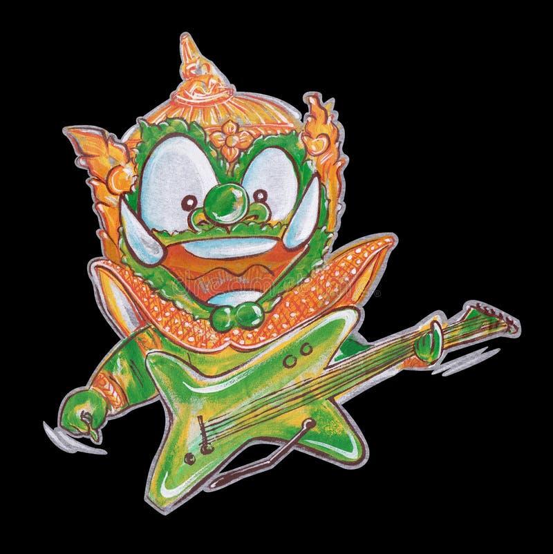 Teckendesign som spelar att agera för gitarr av den thailändska jätte- tecknade filmen han stock illustrationer