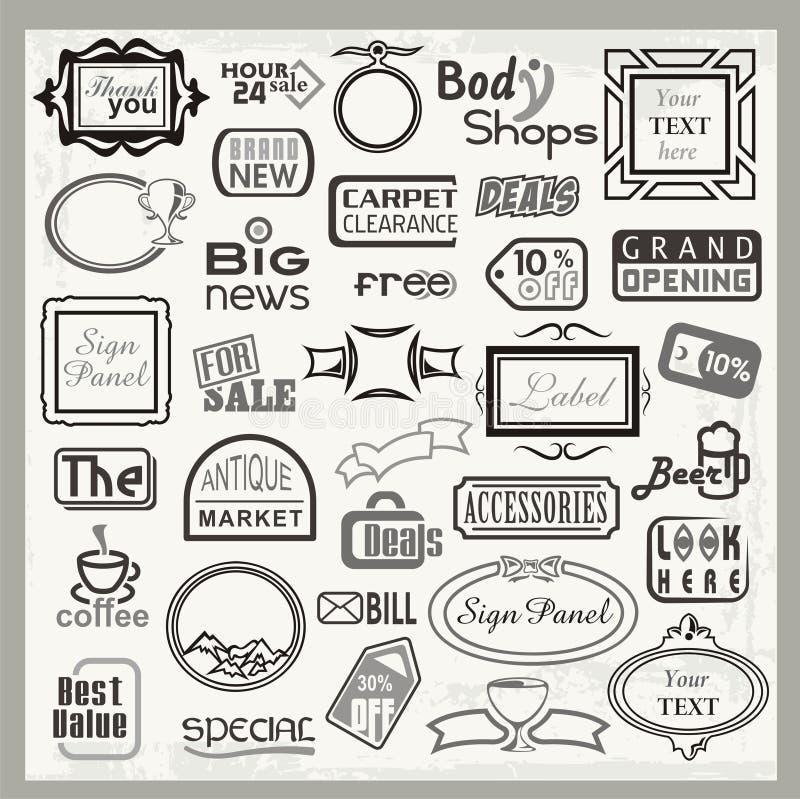 Teckendesigner och inställda banertitelrader vektor illustrationer