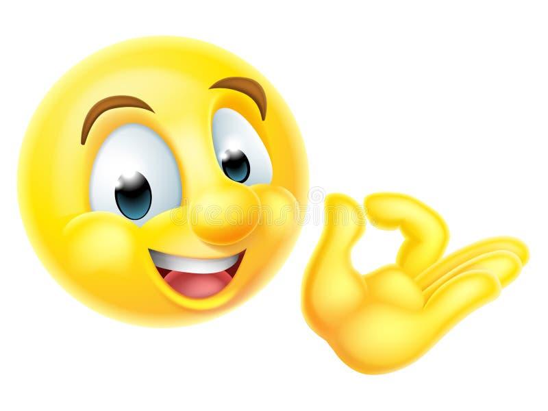 TeckenEmoji för godkännande perfekt Emoticon stock illustrationer