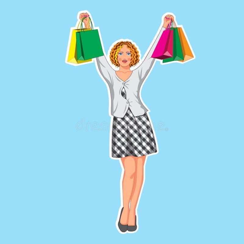Teckenet är en härlig flicka i en plädklänning med shoppingpåsar också vektor för coreldrawillustration royaltyfri illustrationer