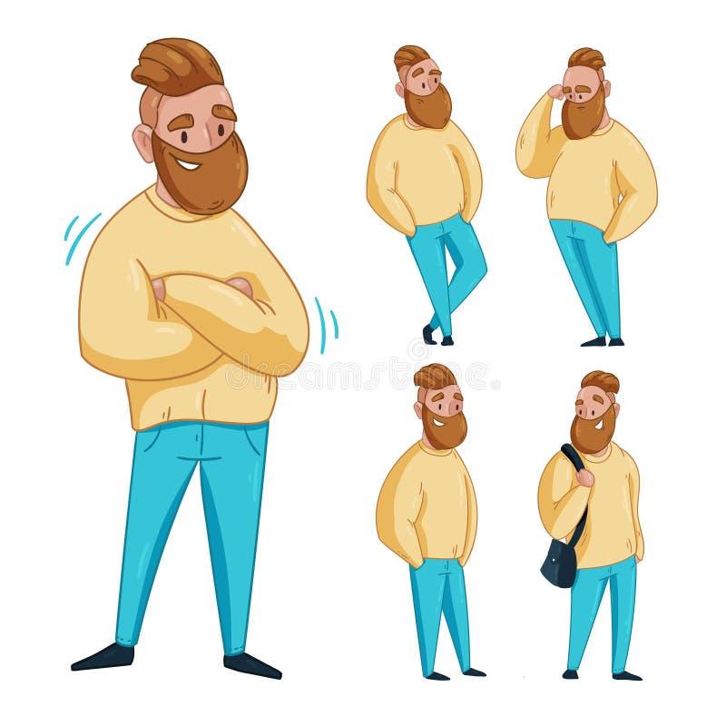 Teckenet av en man i olikt poserar vektor illustrationer