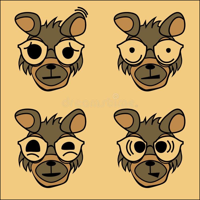 Teckenet av hunden med sinnesrörelser stock illustrationer