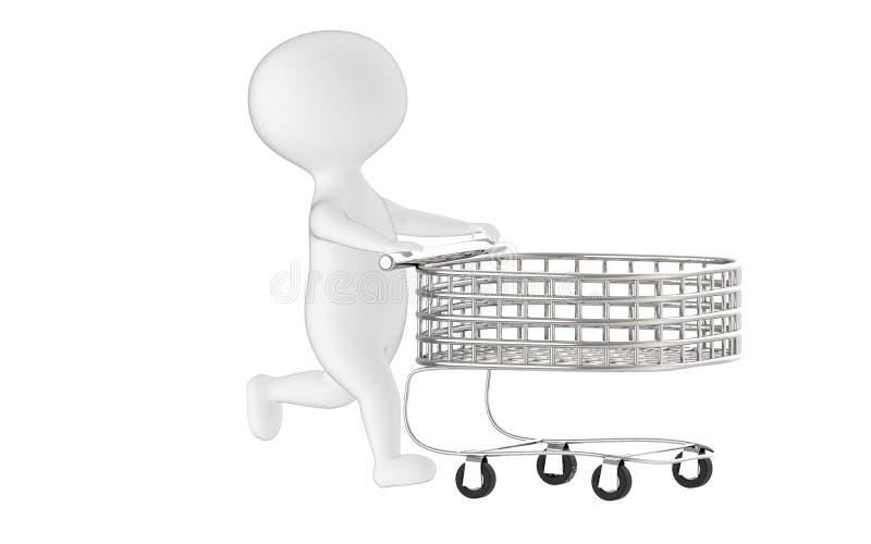 teckenet 3d, man den driftiga tomma shoppingvagnen vektor illustrationer