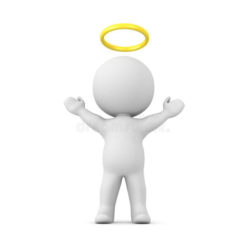 teckenet 3D med en guld- gloria ovanför hans huvud med hans armar lyfter stock illustrationer