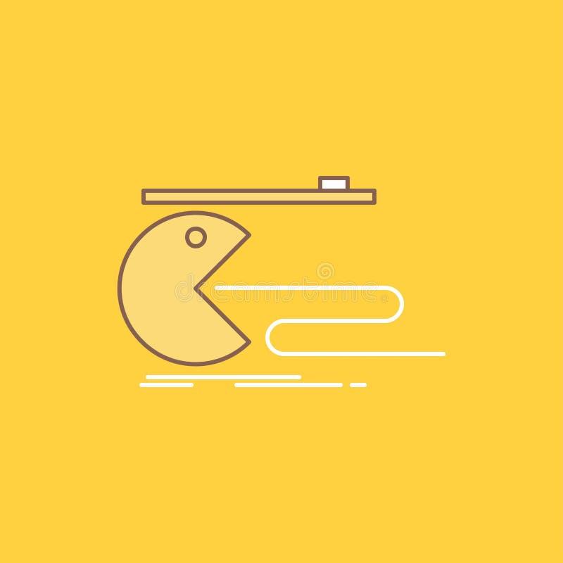 Teckenet datoren, leken, dobbel, plan linje för pacman fyllde symbolen H?rlig logoknapp ?ver gul bakgrund f?r UI och UX, stock illustrationer