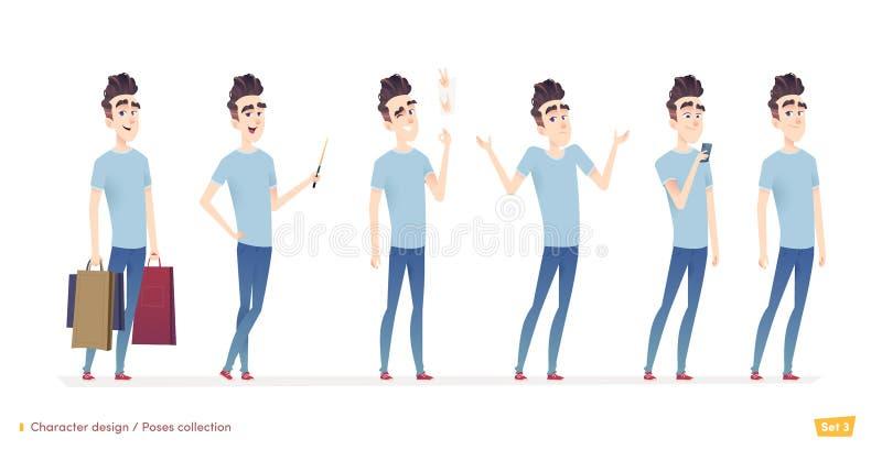 Teckenet för den unga mannen i olikt poserar och läget Modern plan tecknad filmstil royaltyfri illustrationer