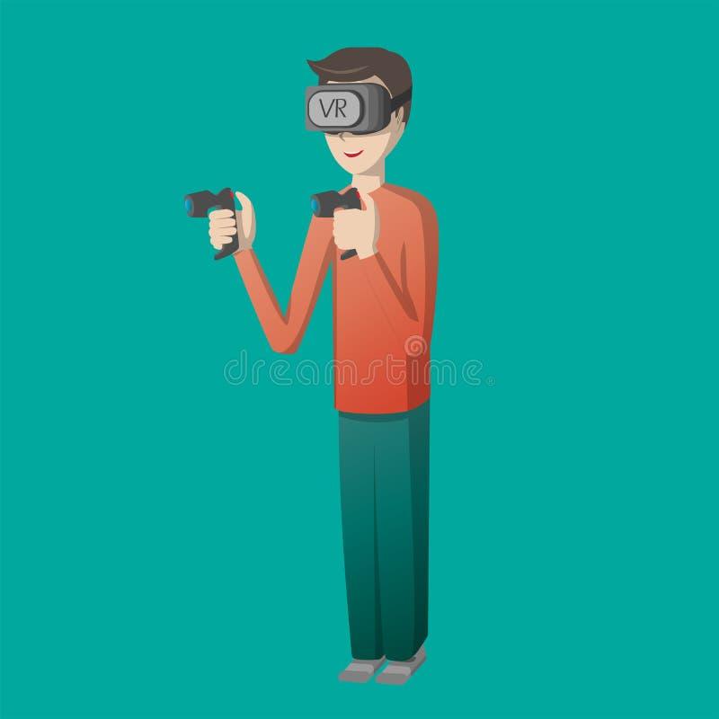 Teckenet för den unga mannen som spelar leken på virtuell verklighetexponeringsglas, bearbetar med maskin illustrationen för simu arkivfoto