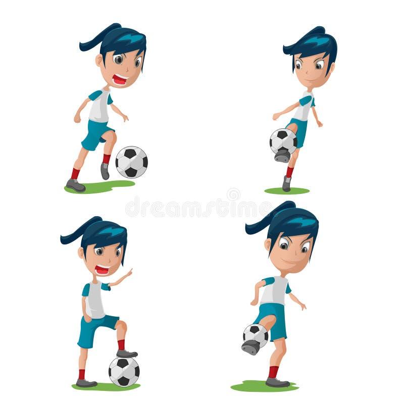 Teckenet för kvinnafotbollspelaren poserar den fastställda vektorn stock illustrationer