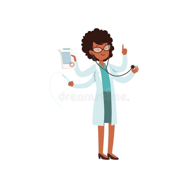 Teckenet för Multitaskingafrikansk amerikandoktorn, den unga kvinnan med många räcker vektorillustrationen på en vit bakgrund stock illustrationer