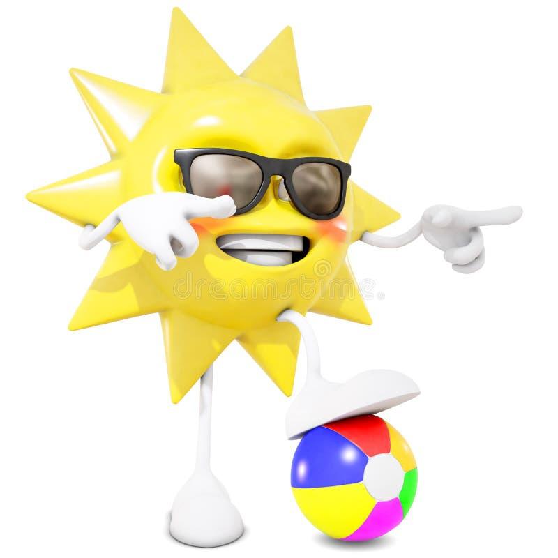 teckenet för solen 3D önskar att du ska spela royaltyfri illustrationer