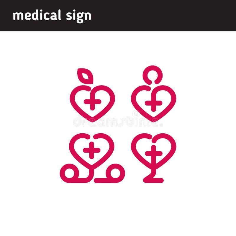 Teckenet - ställ in för medicinska företag eller institutioner royaltyfri illustrationer