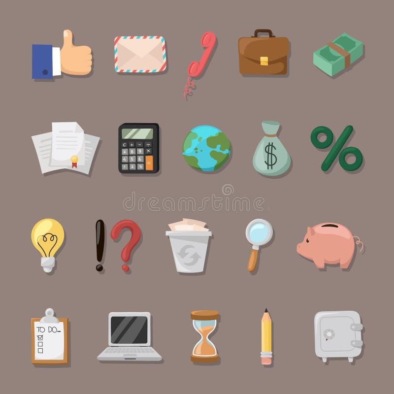 Teckenet - uppsättningen förband med finansen royaltyfri illustrationer