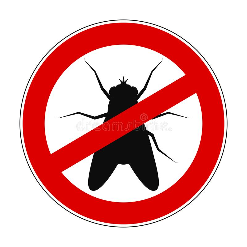 Teckenförbudanti-fluga - vektor stock illustrationer