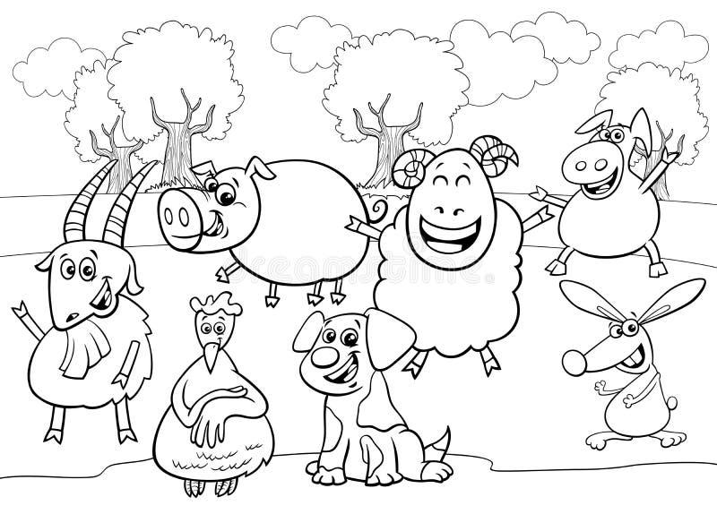 Teckengrupp för lantbruksdjur, svart och vit tecknad vektor illustrationer