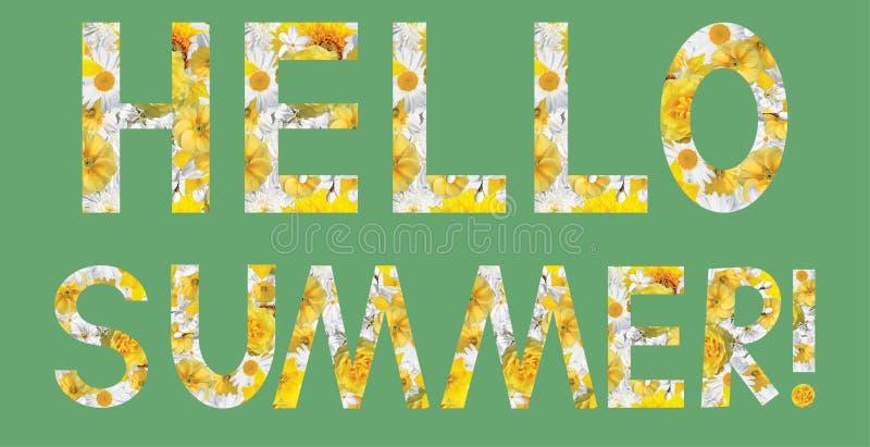 TeckenHello sommar! Collage med blommor vektor illustrationer